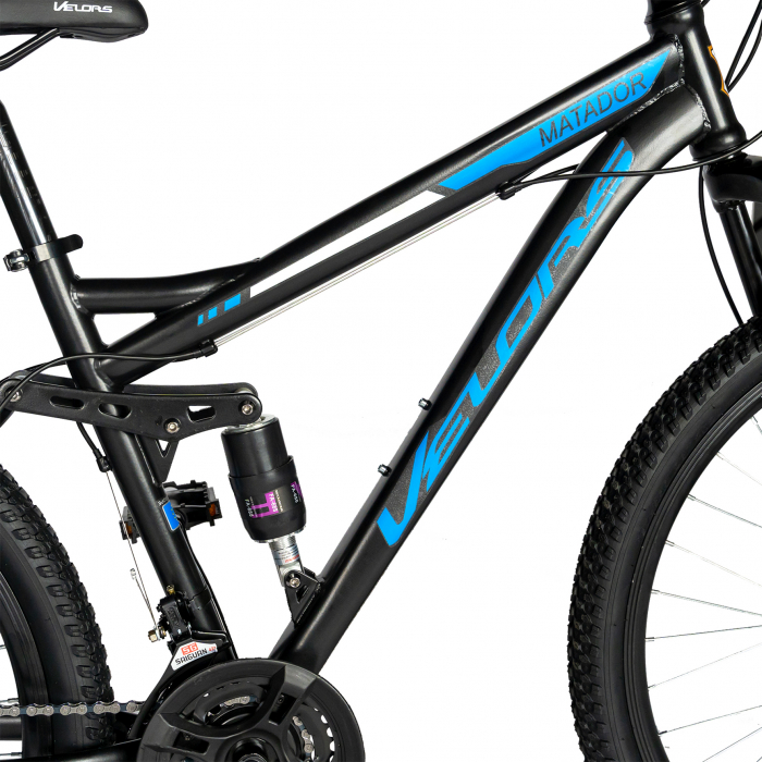 Bicicleta MTB-HT, Shimano Tourney TZ500D, 18 Viteze, Roti 27.5 Inch, Frane pe Disc, Velors CSV27/60D, Negru cu Design Albastru [6]