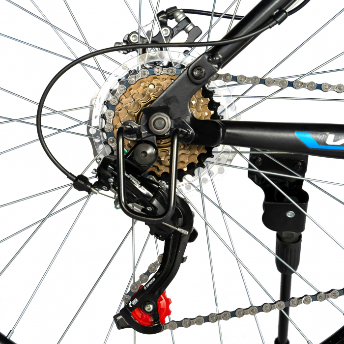 Bicicleta MTB-HT, Shimano Tourney TZ500D, 18 Viteze, Roti 27.5 Inch, Frane pe Disc, Velors CSV27/60D, Negru cu Design Albastru [4]