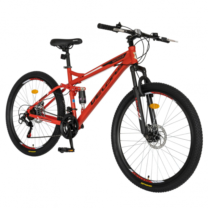 Bicicleta MTB-HT, Shimano Tourney TZ500D, 18 viteze, Roti 27.5 Inch, Frane pe Disc, Velors CSV27/60D, Rosu cu Design Negru [1]
