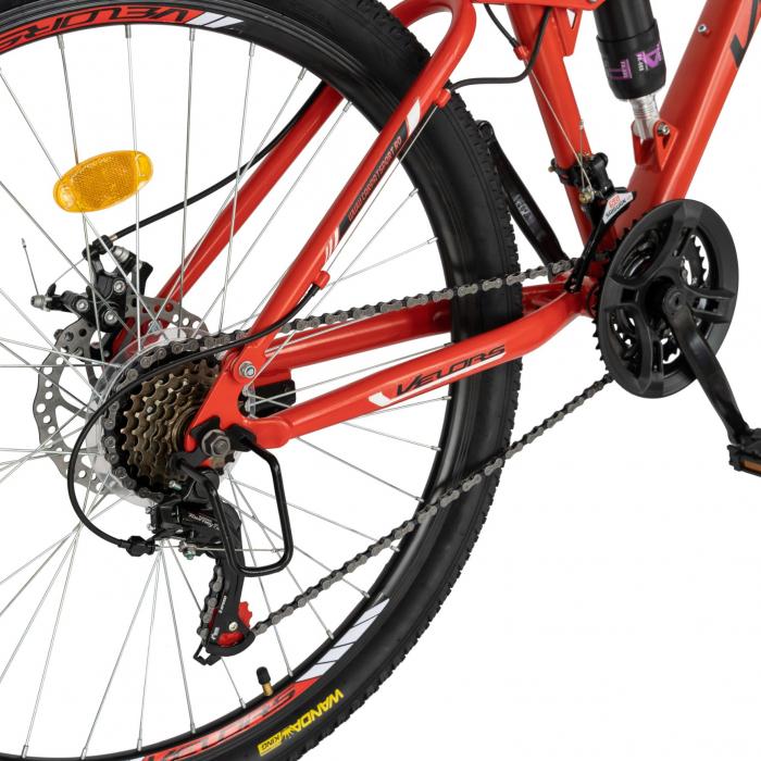 Bicicleta MTB-HT, Shimano Tourney TZ500D, 18 viteze, Roti 27.5 Inch, Frane pe Disc, Velors CSV27/60D, Rosu cu Design Negru [2]