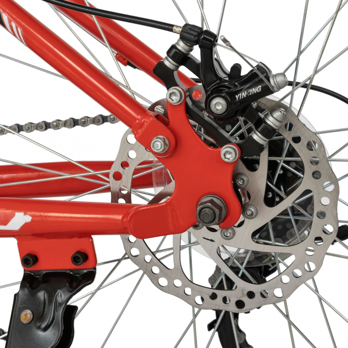 Bicicleta MTB-HT, Shimano Tourney TZ500D, 18 viteze, Roti 27.5 Inch, Frane pe Disc, Velors CSV27/60D, Rosu cu Design Negru [3]