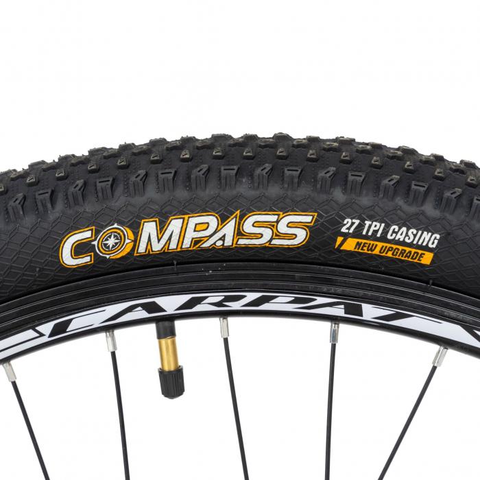 Bicicleta MTB-HT, Shimano Tourney TZ500D, 21 viteze, Roti 26 Inch, Cadru Aluminiu 6061, Frane pe Disc, Carpat CSC26/58C, Gri cu Design Alb/Negru [5]