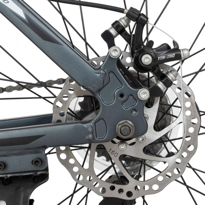 Bicicleta MTB-HT, Shimano Tourney TZ500D, 21 viteze, Roti 26 Inch, Cadru Aluminiu 6061, Frane pe Disc, Carpat CSC26/58C, Gri cu Design Alb/Negru [6]