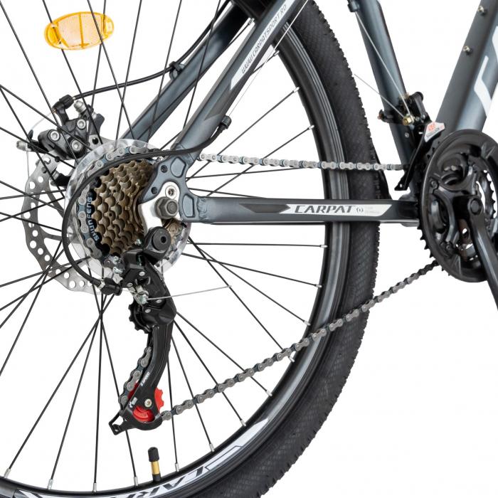 Bicicleta MTB-HT, Shimano Tourney TZ500D, 21 viteze, Roti 26 Inch, Cadru Aluminiu 6061, Frane pe Disc, Carpat CSC26/58C, Gri cu Design Alb/Negru [7]