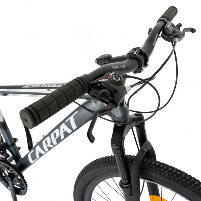 Bicicleta MTB-HT, Shimano Tourney TZ500D, 21 viteze, Roti 26 Inch, Cadru Aluminiu 6061, Frane pe Disc, Carpat CSC26/58C, Gri cu Design Alb/Negru [2]