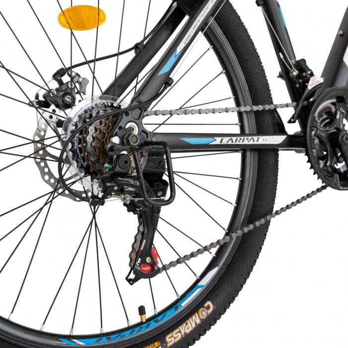 Bicicleta MTB-HT, Shimano Tourney TZ500D, 21 viteze, Roti 26 Inch, Cadru Aluminiu 6061, Frane pe Disc, Carpat CSC26/58C, Negru cu Design Albastru/Alb [6]