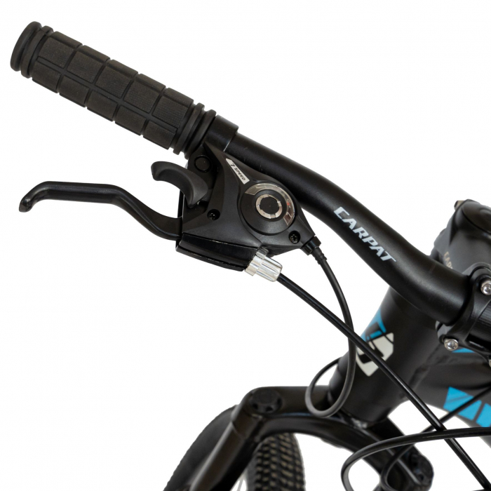 Bicicleta MTB-HT, Shimano Tourney TZ500D, 21 viteze, Roti 27.5 Inch, Cadru Aluminiu 6061, Frane pe Disc, Carpat CSC27/58C, Negru cu Design Alb/Albastru [4]