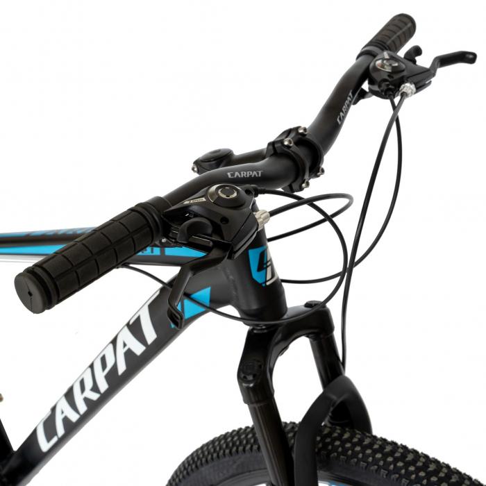 Bicicleta MTB-HT, Shimano Tourney TZ500D, 21 viteze, Roti 27.5 Inch, Cadru Aluminiu 6061, Frane pe Disc, Carpat CSC27/58C, Negru cu Design Alb/Albastru [2]