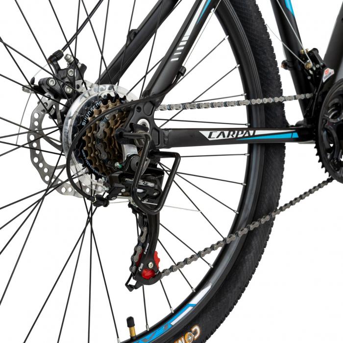 Bicicleta MTB-HT, Shimano Tourney TZ500D, 21 viteze, Roti 27.5 Inch, Cadru Aluminiu 6061, Frane pe Disc, Carpat CSC27/58C, Negru cu Design Alb/Albastru [7]