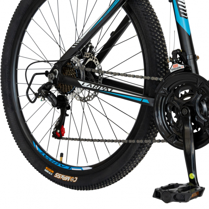 Bicicleta MTB-HT, Shimano Tourney TZ500D, 21 viteze, Roti 27.5 Inch, Cadru Aluminiu 6061, Frane pe Disc, Carpat CSC27/58C, Negru cu Design Alb/Albastru [6]