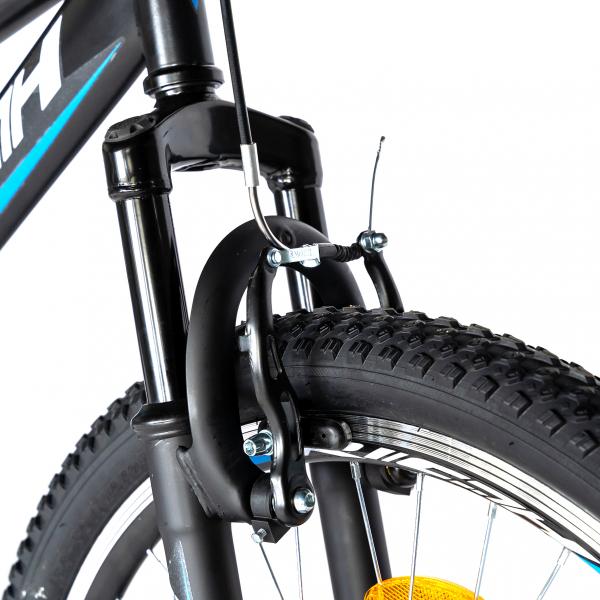 Bicicleta MTB-FS, Saiguan Revoshift 18 Viteze, Roti 24 Inch, Frane V-Brake, RICH CSR24/49A, Cadru Negru cu Design Albastru [7]