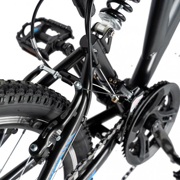 Bicicleta MTB-FS, Saiguan Revoshift 18 Viteze, Roti 24 Inch, Frane V-Brake, RICH CSR24/49A, Cadru Negru cu Design Albastru [2]