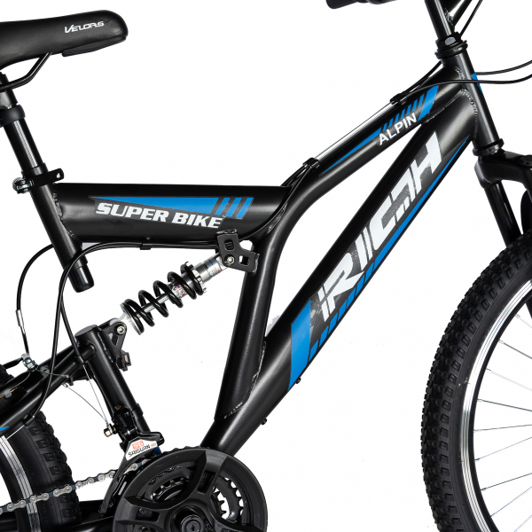 Bicicleta MTB-FS, Saiguan Revoshift 18 Viteze, Roti 24 Inch, Frane V-Brake, RICH CSR24/49A, Cadru Negru cu Design Albastru [5]