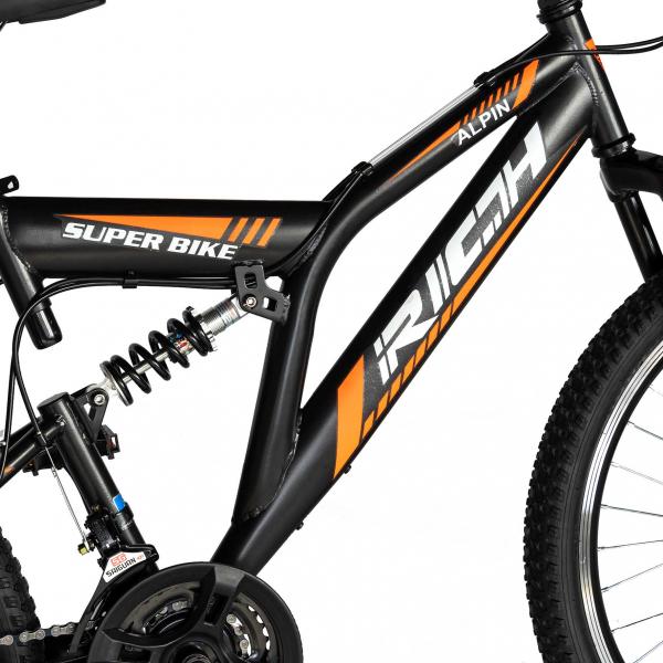 """Bicicleta munte, dubla suspensie, RICH R2449A, roata 24"""", frana V-Brake, 18 viteze, negru/portocaliu 6"""