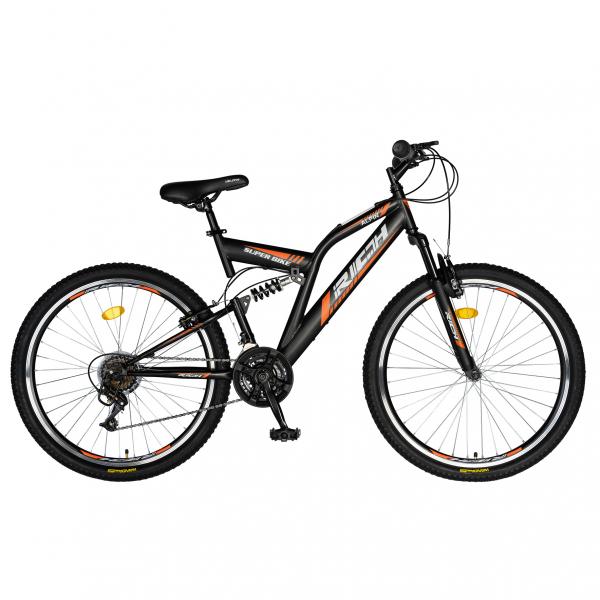 """Bicicleta munte, dubla suspensie, RICH R2449A, roata 24"""", frana V-Brake, 18 viteze, negru/portocaliu 0"""