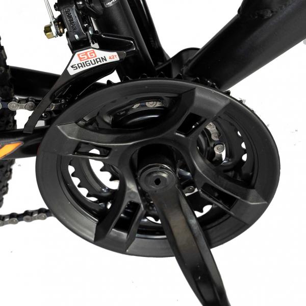 """Bicicleta munte, dubla suspensie, RICH R2449A, roata 24"""", frana V-Brake, 18 viteze, negru/portocaliu 4"""