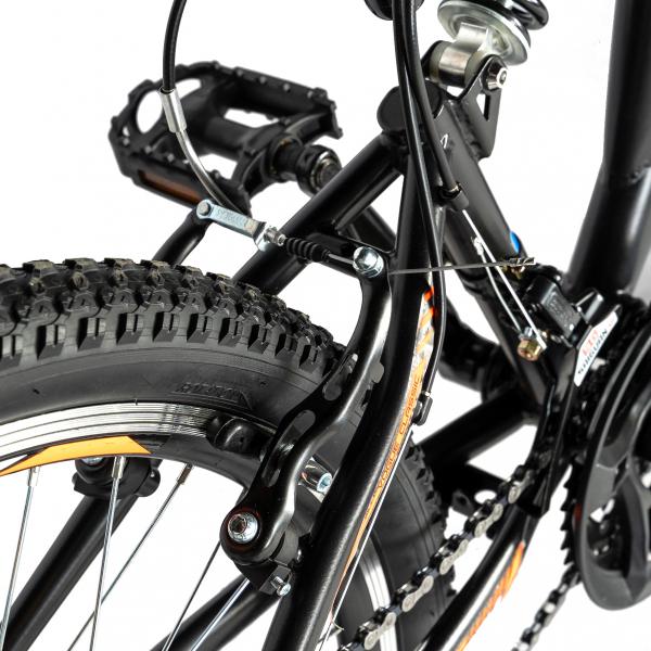 """Bicicleta munte, dubla suspensie, RICH R2449A, roata 24"""", frana V-Brake, 18 viteze, negru/portocaliu 2"""