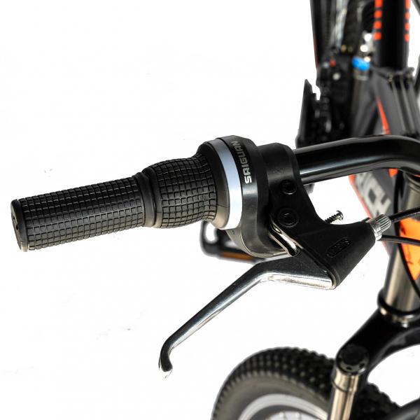 """Bicicleta munte, dubla suspensie, RICH R2449A, roata 24"""", frana V-Brake, 18 viteze, negru/portocaliu 11"""