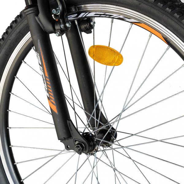 """Bicicleta munte, dubla suspensie, RICH R2449A, roata 24"""", frana V-Brake, 18 viteze, negru/portocaliu 9"""