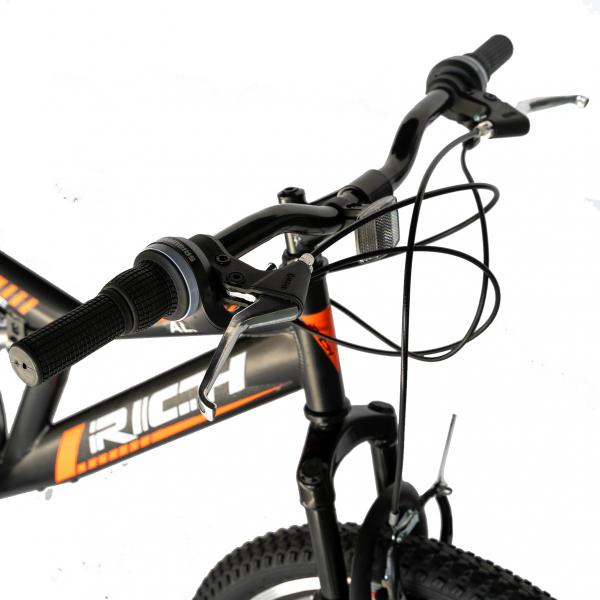 """Bicicleta munte, dubla suspensie, RICH R2449A, roata 24"""", frana V-Brake, 18 viteze, negru/portocaliu 10"""