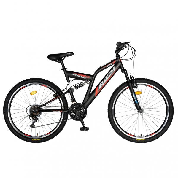 """Bicicleta munte, dubla suspensie, RICH R2649A, roata 26"""", frana V-Brake, 18 viteze, negru / rosu 0"""