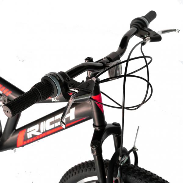 """Bicicleta munte, dubla suspensie, RICH R2649A, roata 26"""", frana V-Brake, 18 viteze, negru / rosu 9"""