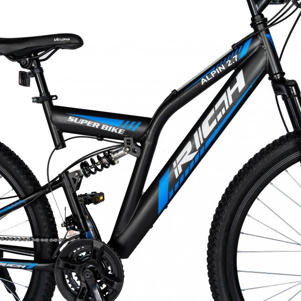 """Bicicleta munte, dubla suspensie, RICH R2750D, roata 27.5"""", frana disc, 18 viteze, negru/albastru 4"""