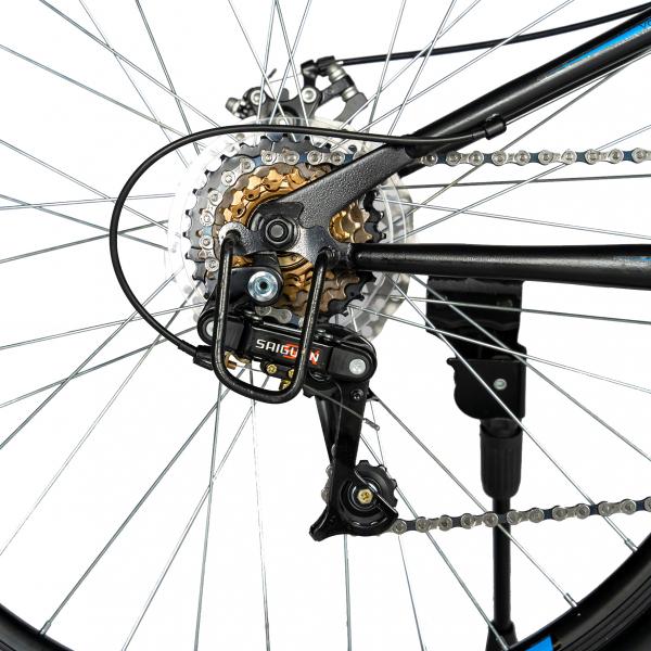"""Bicicleta munte, dubla suspensie, RICH R2750D, roata 27.5"""", frana disc, 18 viteze, negru/albastru 3"""