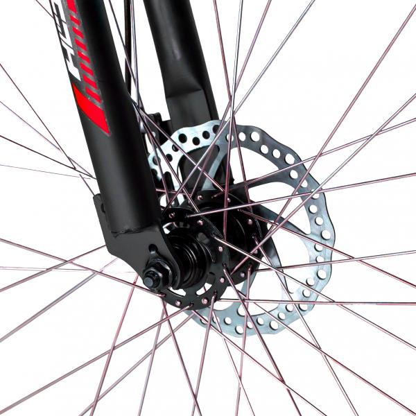 """Bicicleta munte, dubla suspensie, RICH R2750D, roata 27.5"""", frana disc, 18 viteze, negru/rosu 6"""