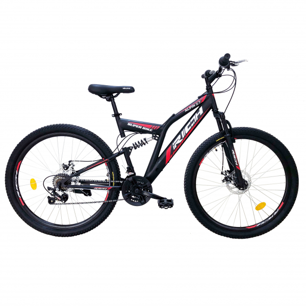"""Bicicleta munte, dubla suspensie, RICH R2750D, roata 27.5"""", frana disc, 18 viteze, negru/rosu 0"""