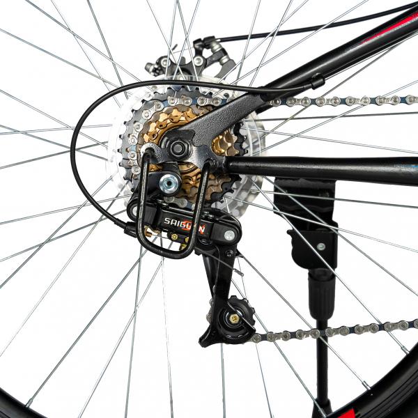 """Bicicleta munte, dubla suspensie, RICH R2750D, roata 27.5"""", frana disc, 18 viteze, negru/rosu 4"""