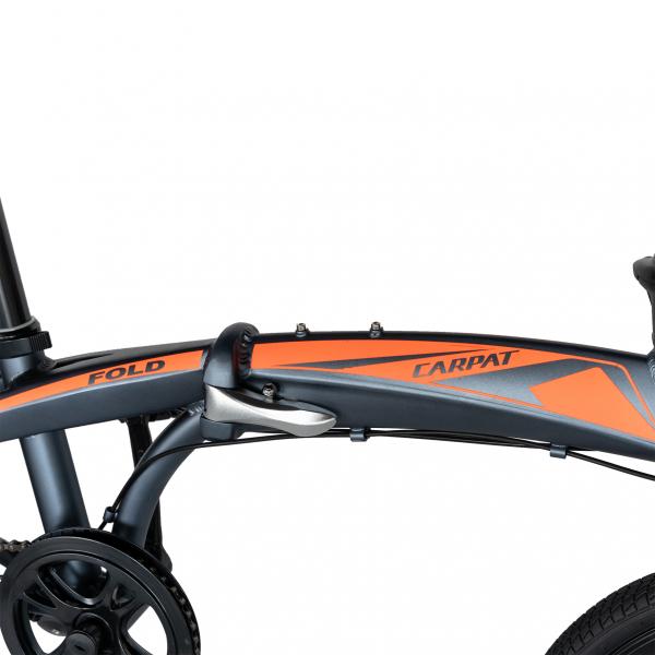 """Bicicleta pliabila 20"""" CARPAT C2052C, echipare SHIMANO 7 viteze, culoare gri/portocaliu [8]"""