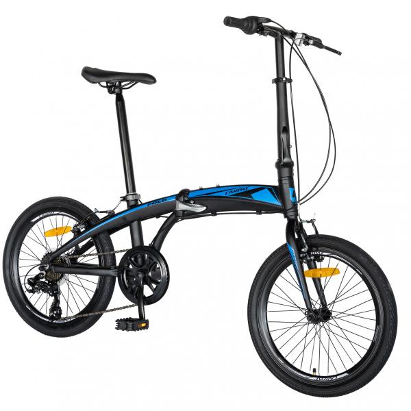 """Bicicleta pliabila 20"""" CARPAT C2052C, echipare SHIMANO 7 viteze, culoare negru/albastru 1"""