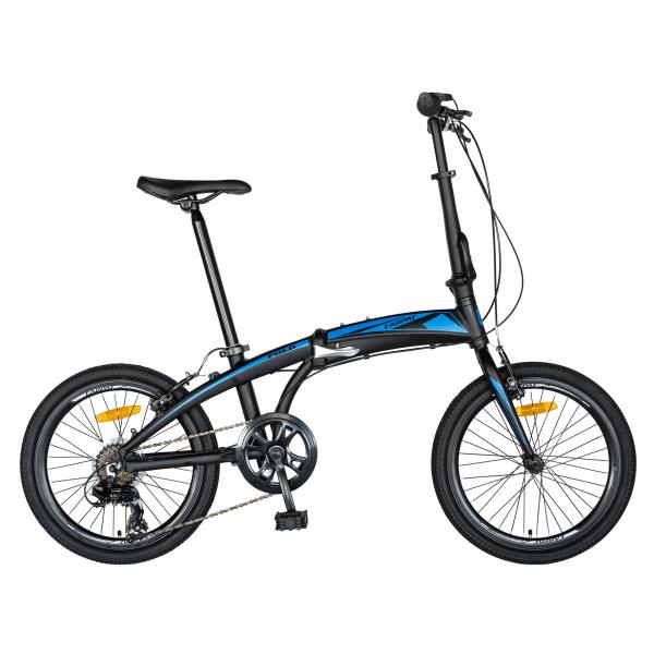 """Bicicleta pliabila 20"""" CARPAT C2052C, echipare SHIMANO 7 viteze, culoare negru/albastru 0"""