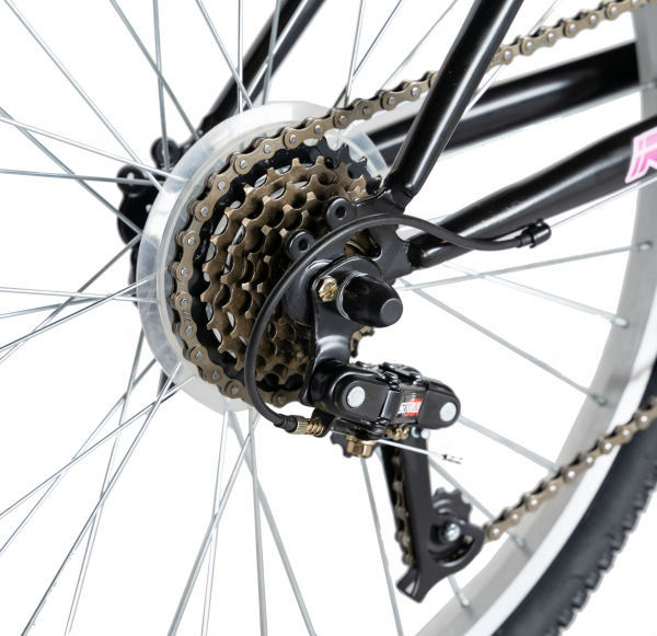 """Bicicleta TREKKING 24"""" RICH R2430A, 6 viteze, culoare negru/fucsia [4]"""
