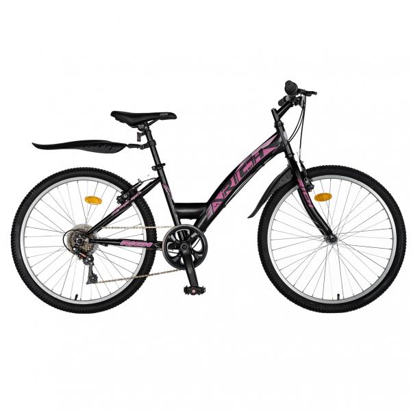 """Bicicleta TREKKING 24"""" RICH R2430A, 6 viteze, culoare negru/fucsia [0]"""