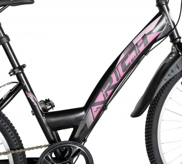 """Bicicleta TREKKING 24"""" RICH R2430A, 6 viteze, culoare negru/fucsia [7]"""