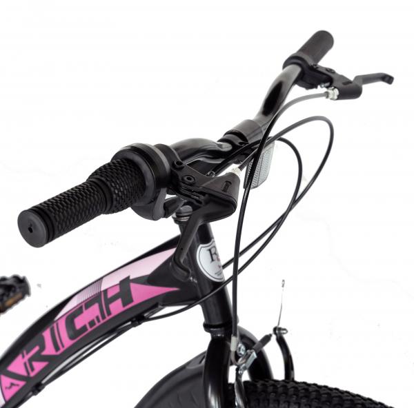 """Bicicleta TREKKING 24"""" RICH R2430A, 6 viteze, culoare negru/fucsia [10]"""