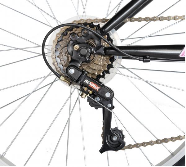 """Bicicleta TREKKING 24"""" RICH R2430A, 6 viteze, culoare negru/fucsia [5]"""