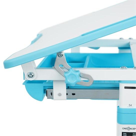 Birou de scris pentru copii, set de două piese, masă si scaun, reglabil pe înălțime, cu iluminare, albastru [6]