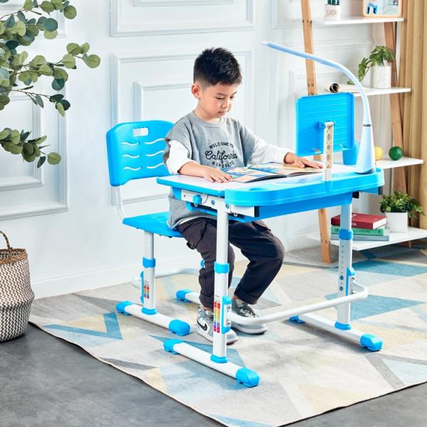 Birou de scris pentru copii, set de două piese, masă si scaun, reglabil pe înălțime, cu iluminare, albastru [0]