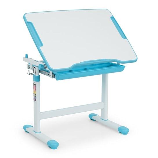 Birou de scris pentru copii, set de două piese, masă si scaun, reglabil pe înălțime, cu iluminare, albastru [10]