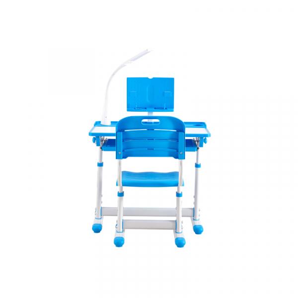 Birou de scris pentru copii, set de două piese, masă si scaun, reglabil pe înălțime, cu iluminare, albastru [4]