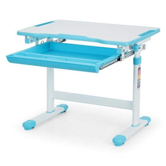 Birou de scris pentru copii, set de două piese, masă si scaun, reglabil pe înălțime, cu iluminare, albastru [8]
