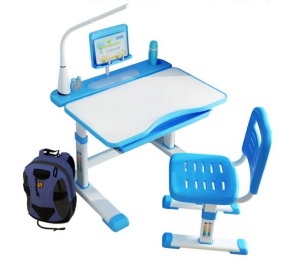 Birou de scris pentru copii, set de două piese, masă si scaun, reglabil pe înălțime, cu iluminare, albastru [1]