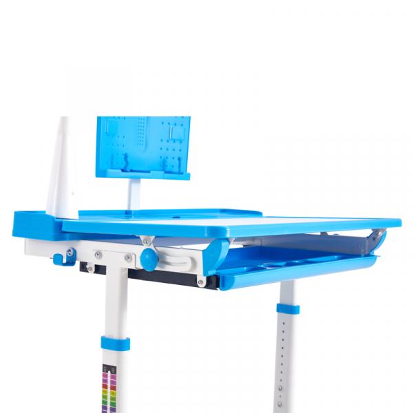 Birou de scris pentru copii, set de două piese, masă si scaun, reglabil pe înălțime, cu iluminare, albastru [5]