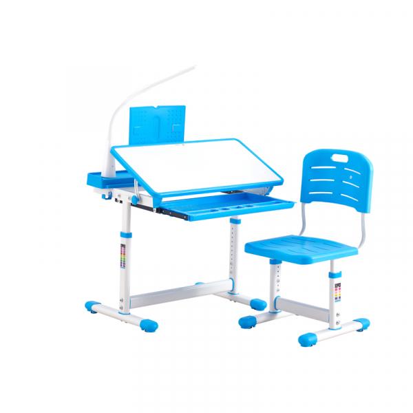 Birou de scris pentru copii, set de două piese, masă si scaun, reglabil pe înălțime, cu iluminare, albastru [3]