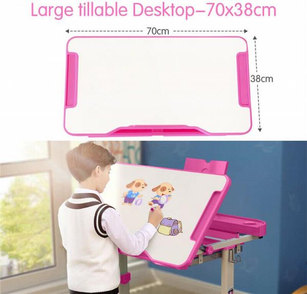 Birou de scris pentru copii, set de două piese, masă si scaun, reglabil pe înălțime, cu iluminare, roz [4]