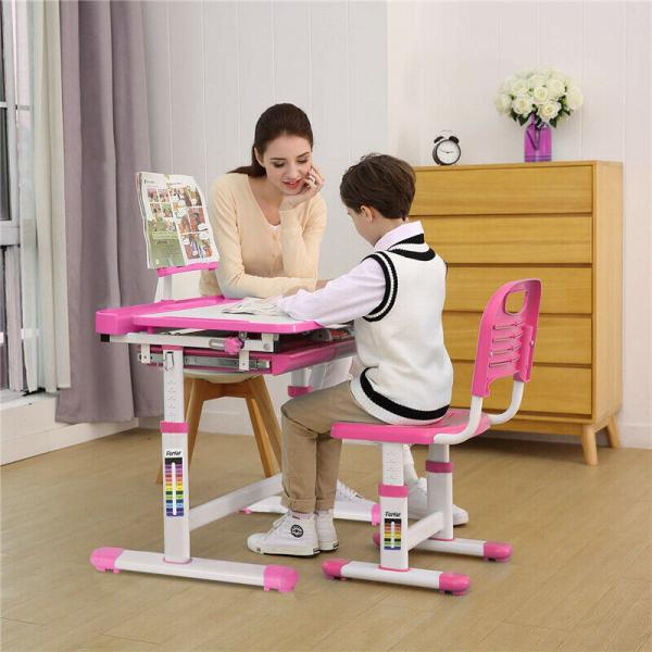 Birou de scris pentru copii, set de două piese, masă si scaun, reglabil pe înălțime, cu iluminare, roz [3]