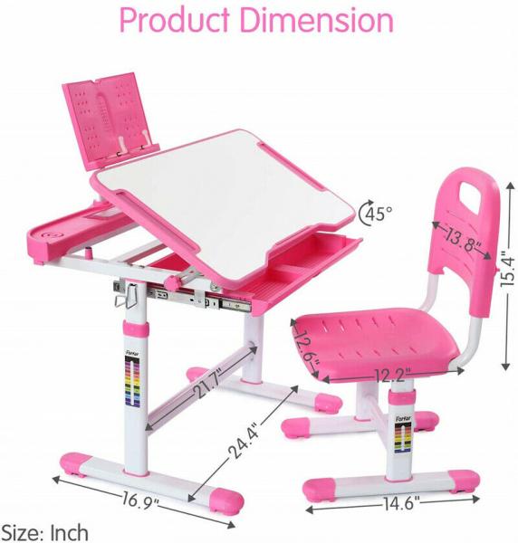 Birou de scris pentru copii, set de două piese, masă si scaun, reglabil pe înălțime, cu iluminare, roz [2]